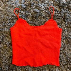 Astr Red Smocked Top